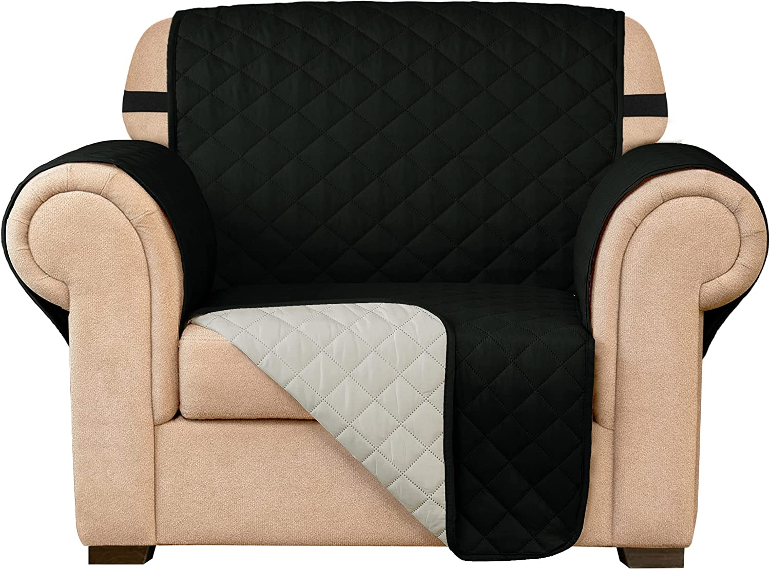 Subrtex Sofa Slipcover Reversible Chair Cover Quilted Couch Cover Furniture Protector with Elastic Straps in Living Room Washable Slip Cover for Pets Kids Dogs (Chair, Black)