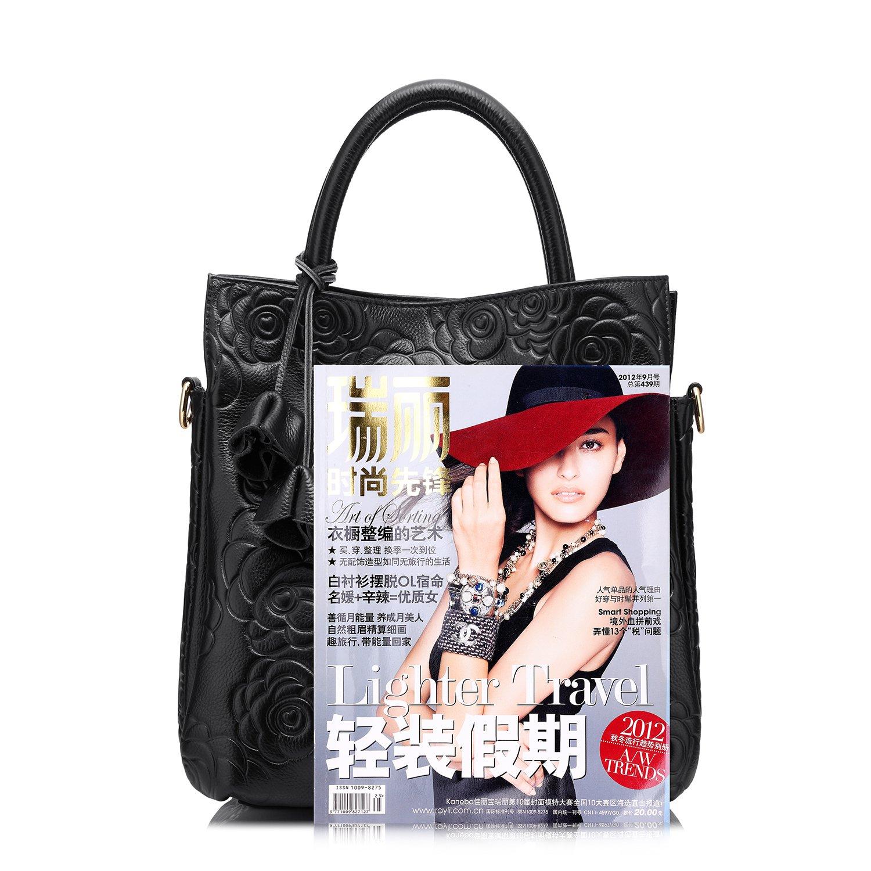 Amazon.com  Designer Genuine Leather Handbag Women Tote Bag Floral Embossed  Shoulder Bag by Realer(Black)  Shoes de01dee9a481a