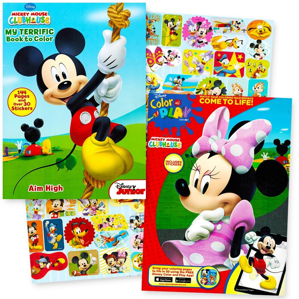 Buy Disney Mickey Mouse And Minnie Coloring Book Party Set With Stickers 2 Giant Books Over 280 Pages Total 60