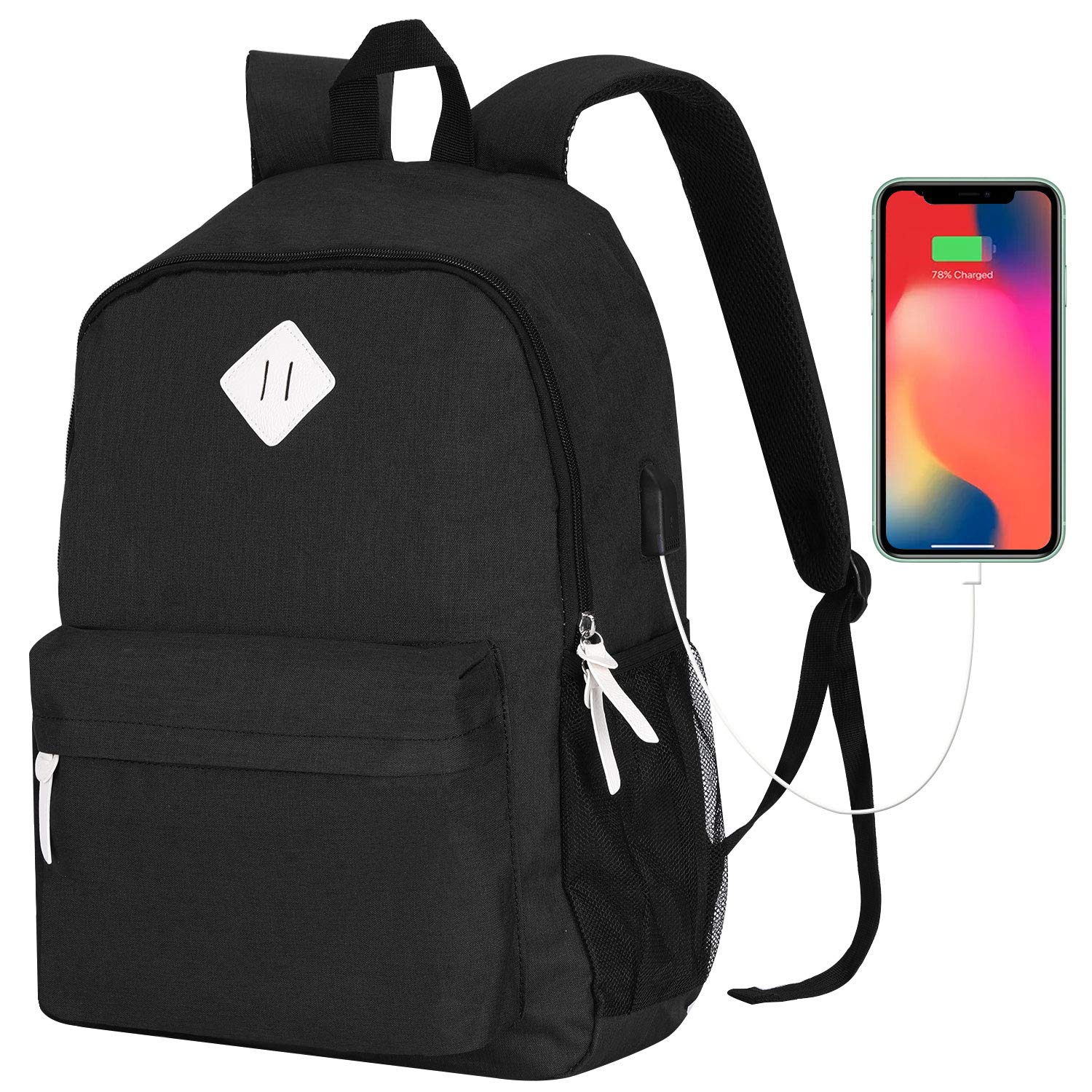 USB Charging Port Water Resistant Canvas Backpack Fits 14 Laptop