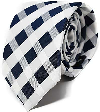 Oxford Collection Corbata de hombre Azul y Blanco a Cuadros - 100 ...