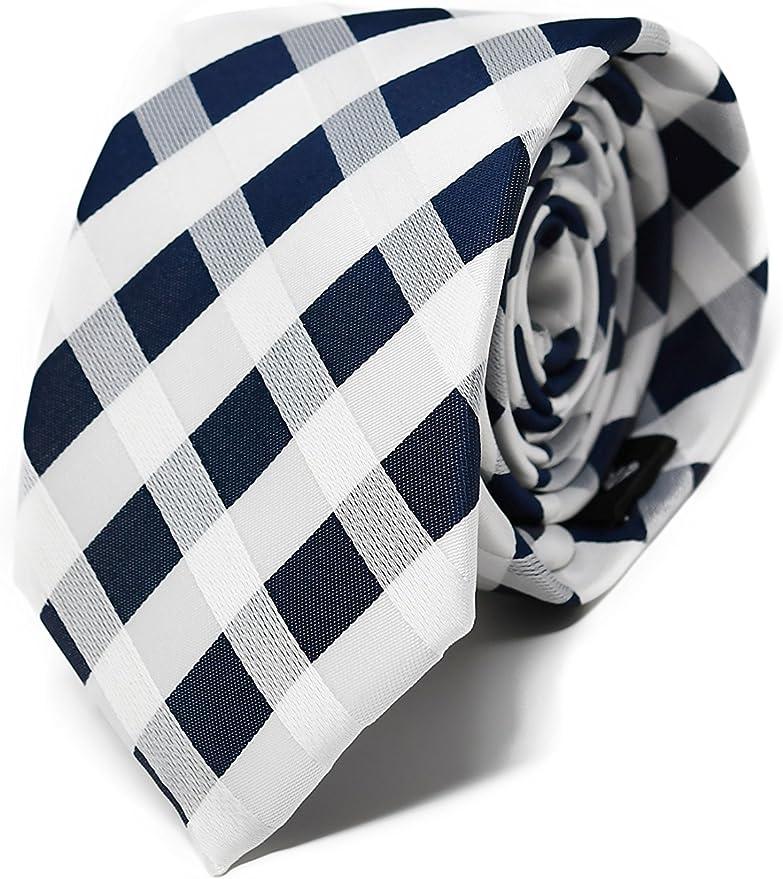 Oxford Collection Corbata de hombre Azul y Blanco a Cuadros - 100% Seda - Clásica, Elegante y Moderna - (ideal para un regalo, una boda, con un traje, ...