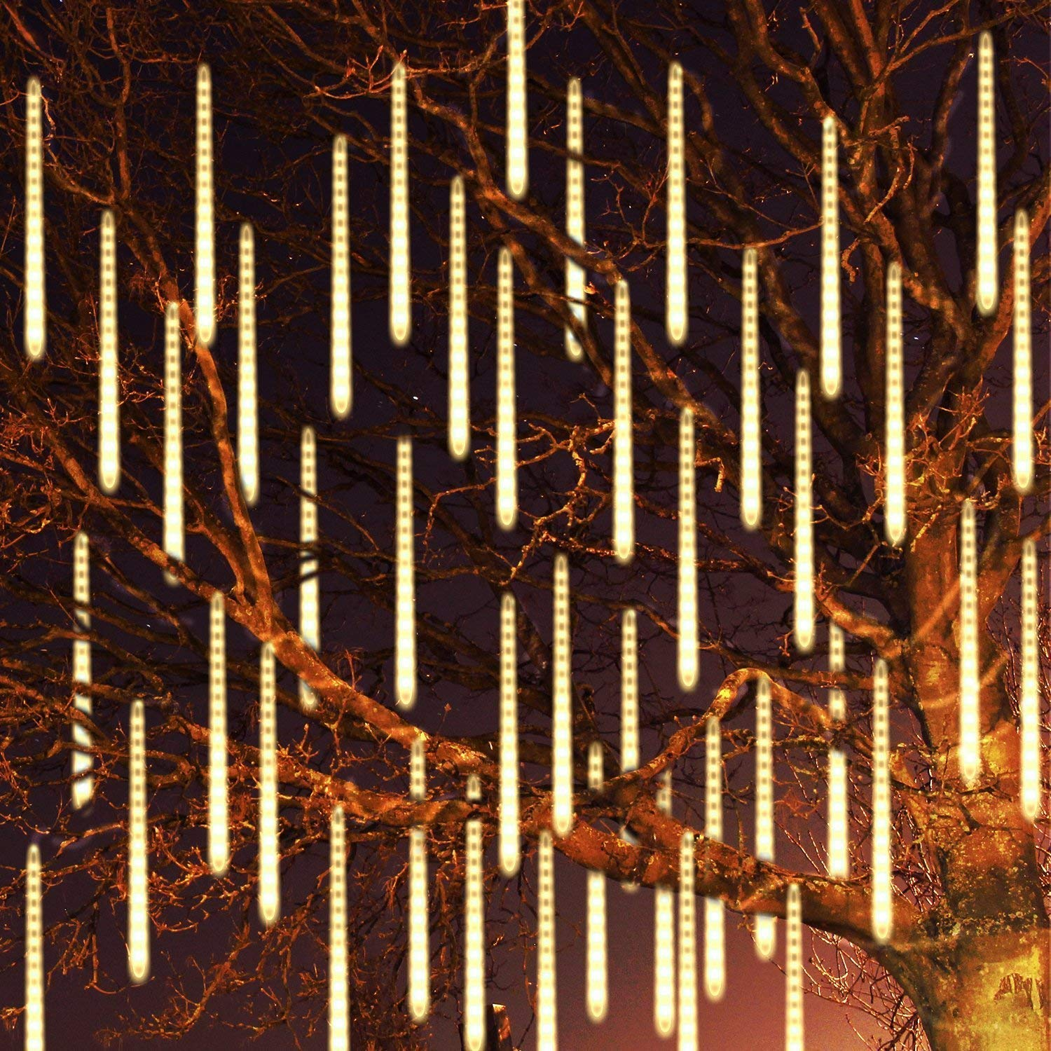 Meedasy 22.96ft/7m 540LED Meteor Shower Rain Lights, 50cm 10 Tubes Waterproof Cascading Icicle Raindrop Snow Falling Lights for Garden Outdoor Patio Xmas Holiday Wedding Party Decoration (Warm White)