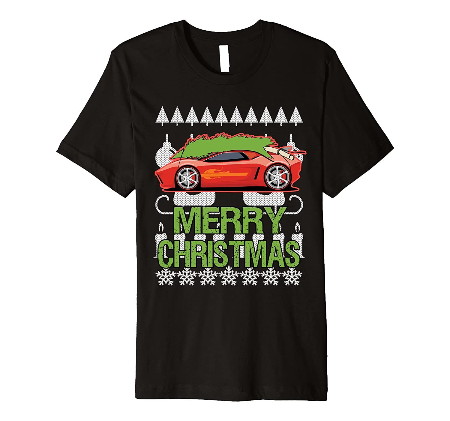 Sports Car Merry Christmas Ugly Sweater Premium T-shirt
