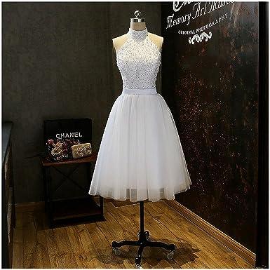 TANGFUTI Juniors Homecoming Dress Short Halter Beaded Tulle Prom Gown 068WE-US2