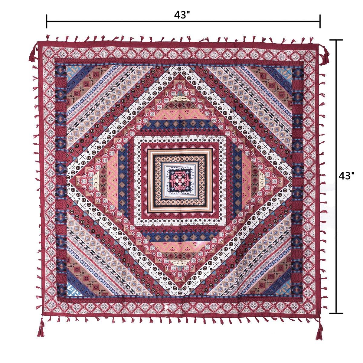 EVRFELAN Women Boho Scarf Tassel Shawl Tapestry Tablecloth Beach Towel Picnic Throw Wall Hanging Yoga Mat Ladies Cotton Scarves by Popular Handicrafts (Red2)