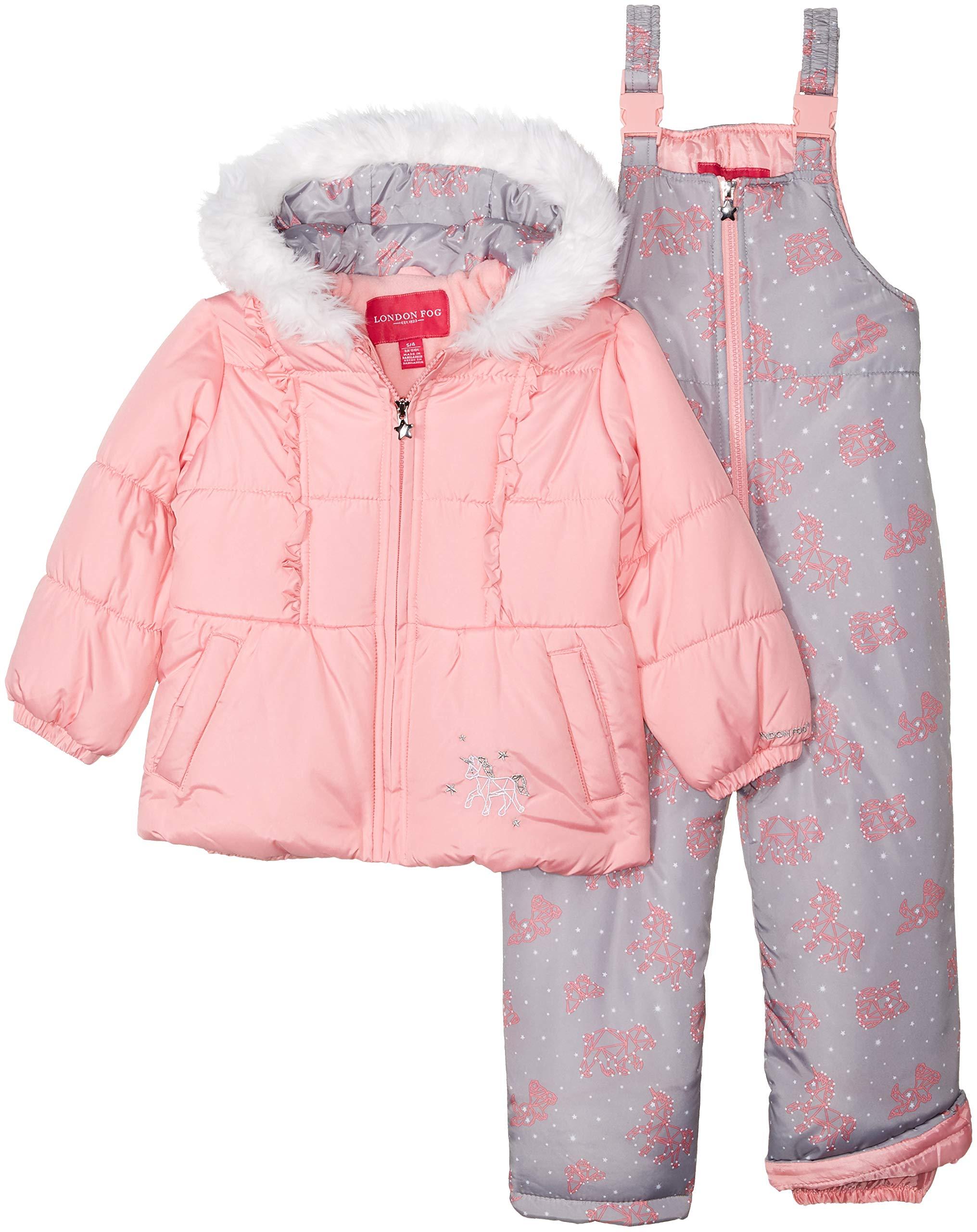 London Fog Girls' Little Snowsuit with Snowbib and Puffer Jacket, Light Pink Unicorn, 4