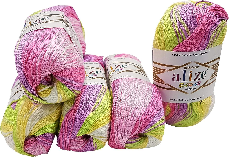 Alize Bahar 5 ovillos de 100 Gramos de algodón Mercerizado, 500 ...