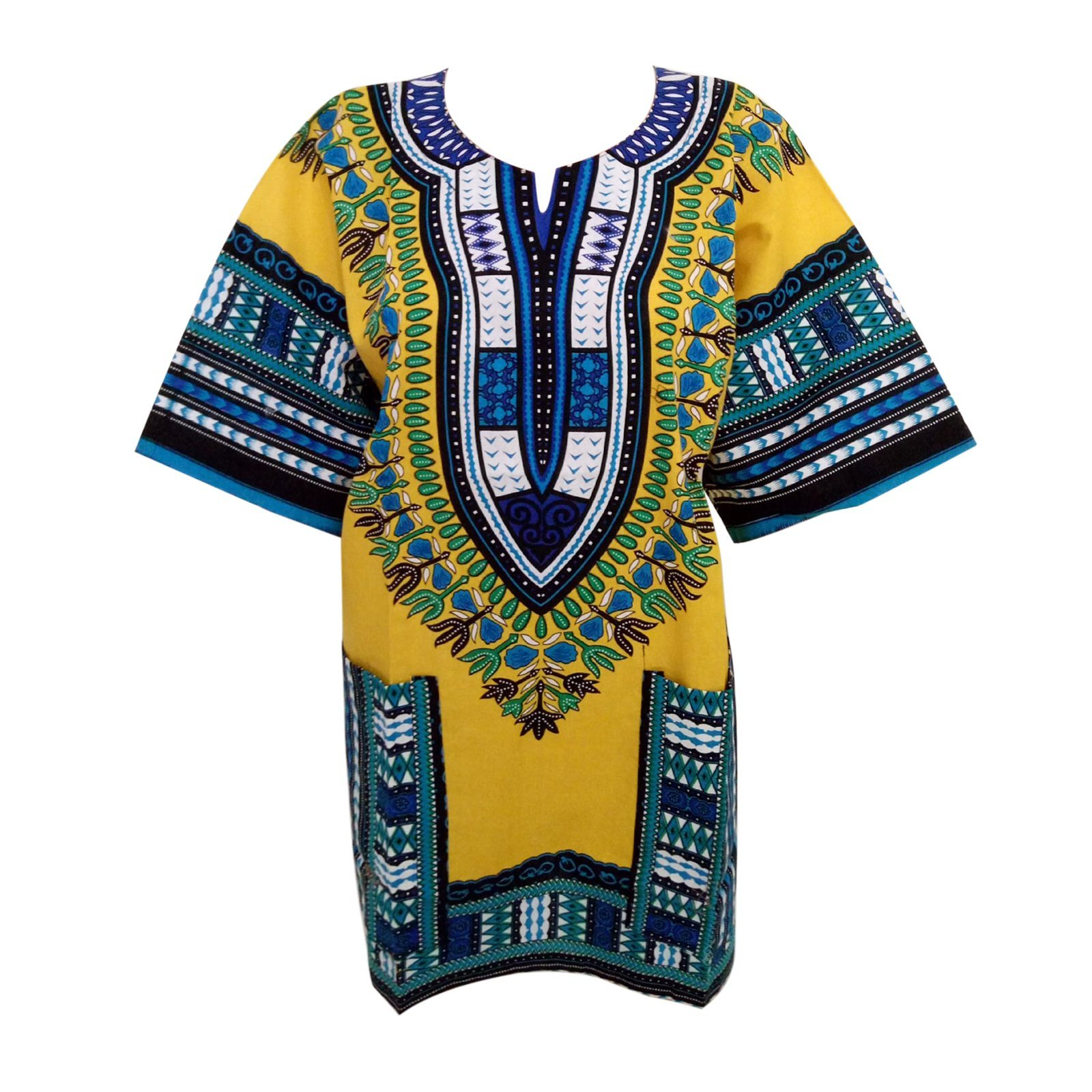 Moxeay Traditional African Vintage Print Unisex Dashiki Top (Free Size, Yellow)