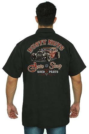 4ed961afb SHORE TRENDZ Men's Mechanic Work Shirt Rusty Nuts Auto Shop Black ...