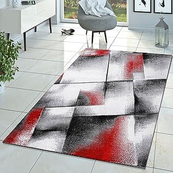 Tu0026T Design Designer Teppich Wohnzimmer Modern Kurzflorteppich Meliert Rot  Grau Creme, Größe:160x220 Cm