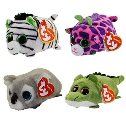 Teeny Ty Zilla zebra, Ferris giraffe, Kaleb koala, Wallie alligator plush Set of