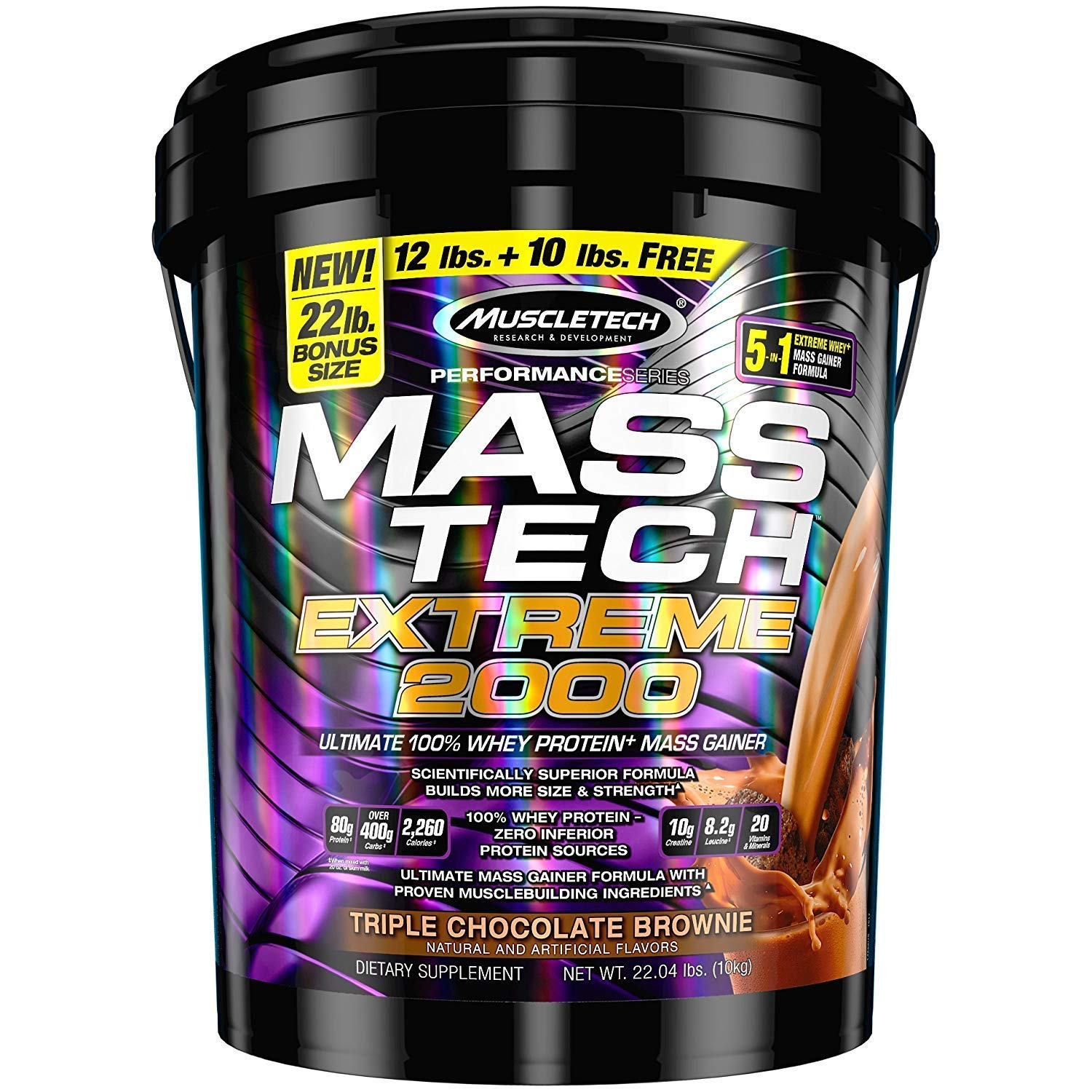 MuscleTech Mass Tech Extreme Weight Gainer Protein Powder, Triple Chocolate Brownie, 22lbs (10kg) by MuscleTech (Image #1)