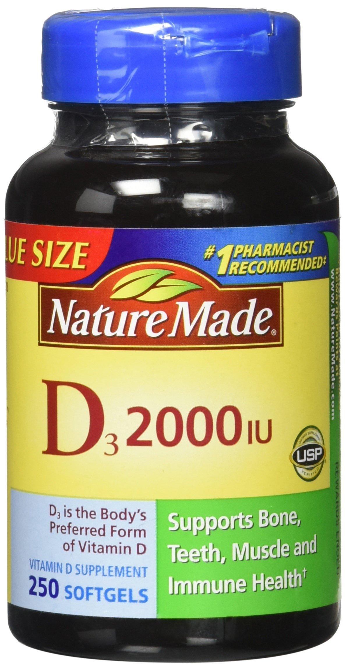 Nature Made, Vitamin D3 2,000 I.U. Liquid Softgels, 250-Count (Pack of 3)