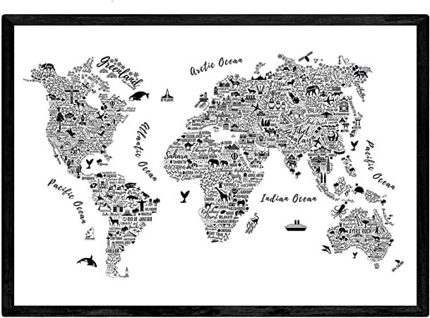 Nacnic Poster con Mapa tipográfico Color Blanco. Láminas con mapas ...