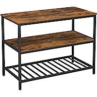 VASAGLE Keukenplank met 3 planken, keukeneiland met groot werkblad, stabiel metalen frame, 120 x 60 x 90 cm, eenvoudige…