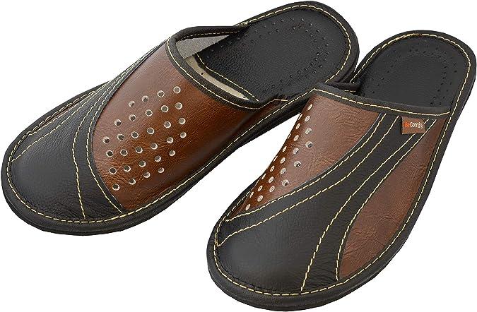 BeComfy Chaussures en Cuir pour Homme Chaussons Mules Marron Noir Mod/èle XC64