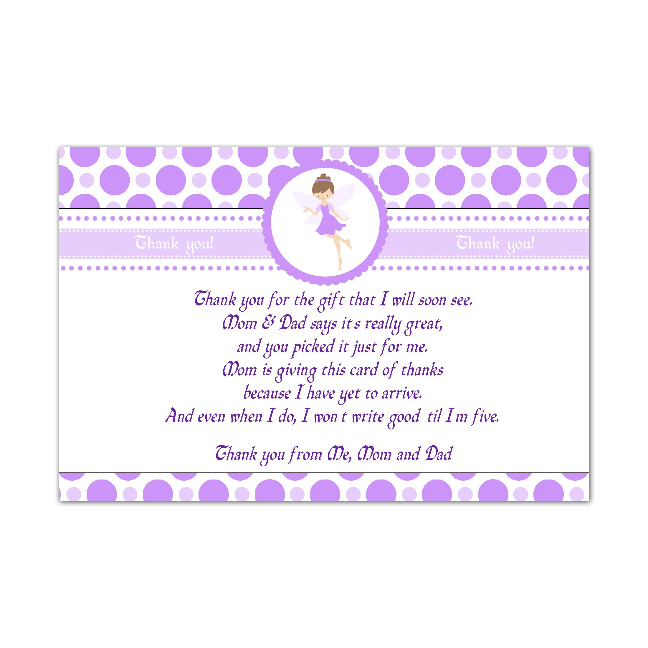 30 Thank You Cards Purple Fairy Pixie Girl Baby Shower Personalized Cards Photo Paper