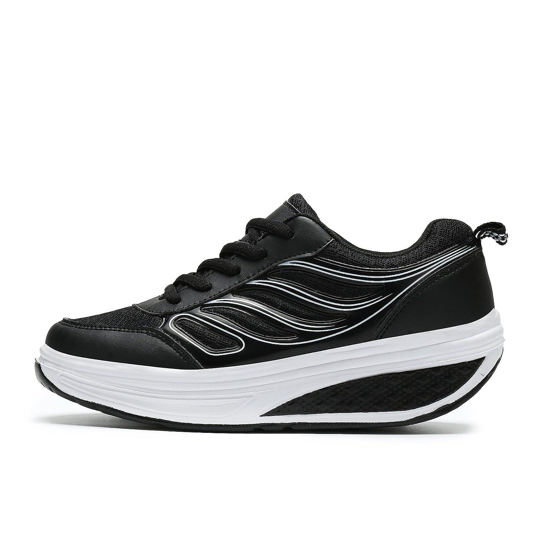 SAGUARO Platform Toning Rocker Shoes Womens Tennis Sneakers Wedges Thick Sole for Walking B07D27TQRF 4.5 B(M) US=Label36 Black