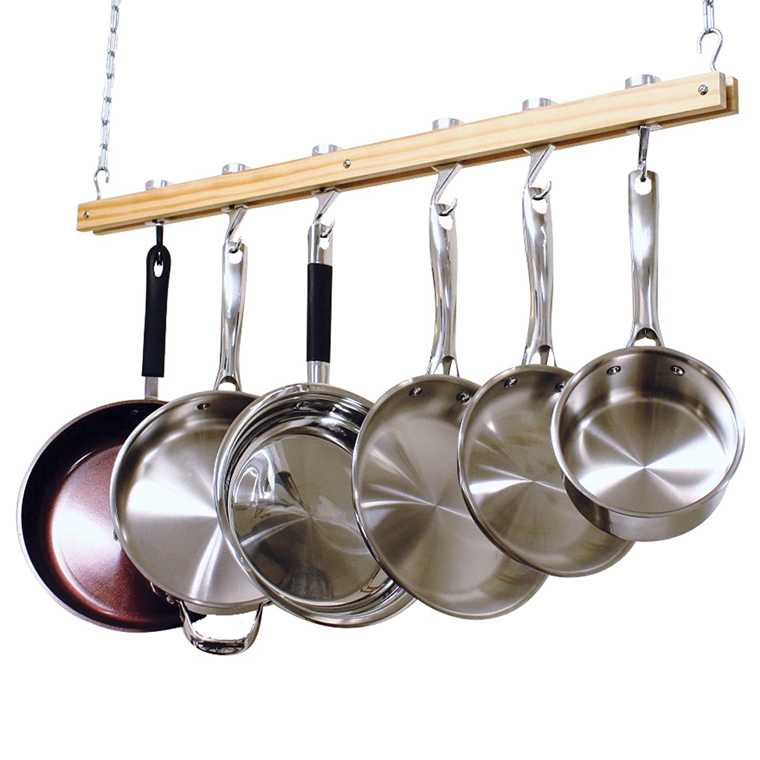 Good Cooks Standard Ceiling Mount Wooden Pot Rack, Single Bar