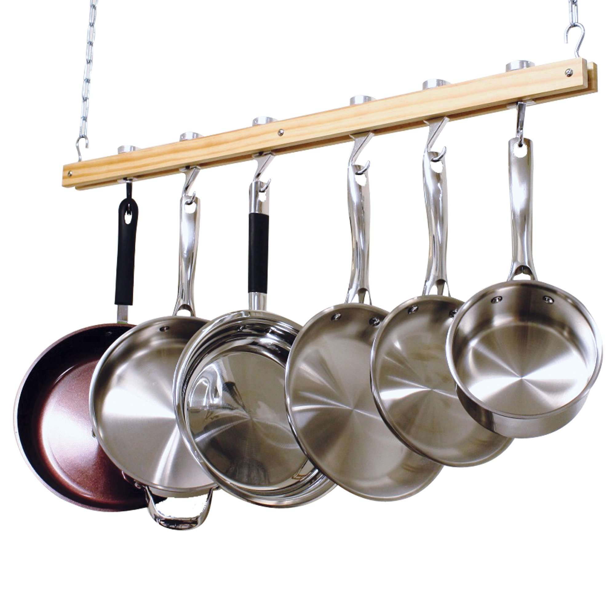 Cooks Standard NC-00269 Single Bar, 36-Inch Ceiling Mounted Wooden Pot Rack, Brown by Cooks Standard