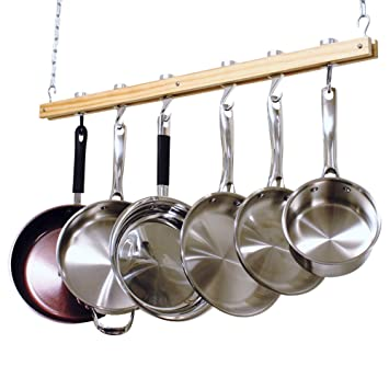 Cooks Standard Ceiling Mounted Wooden Pot Rack, Single Bar, 36 Inch