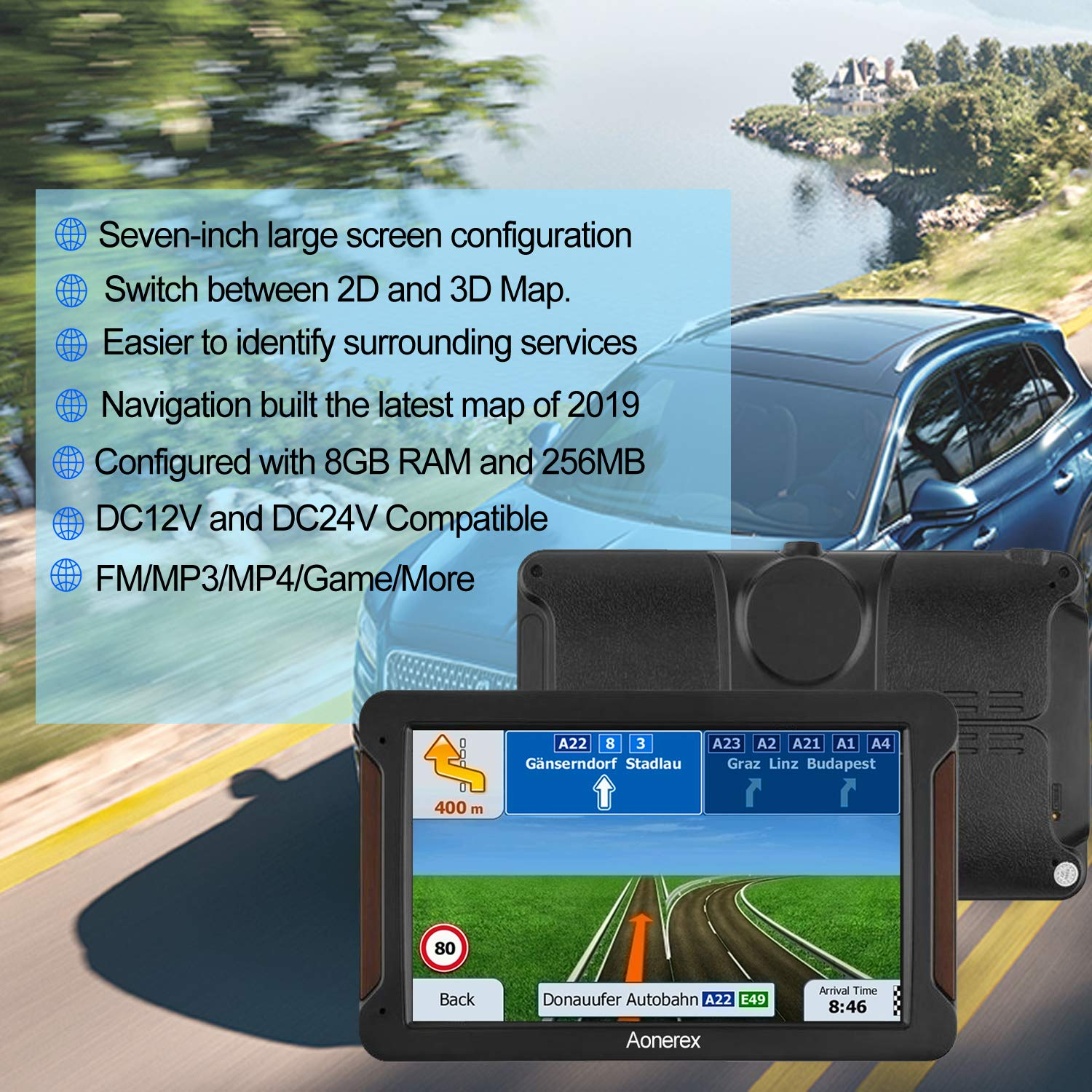 AONEREX GPS Navigation 7inch HD-8GB 256Mb Car GPS Navigation, Voice Traffic Warning,Speed Limit Reminder Satellite Navigation System with Non-Slip Car Bracket Holder-Lifetime Free Map Updates by Aonerex (Image #2)
