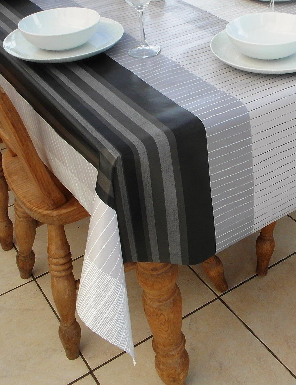 1.4x2.0M OVAL PVC//VINYL TABLECLOTH GREY /& BLACK STRIPE DESIGN 55x78