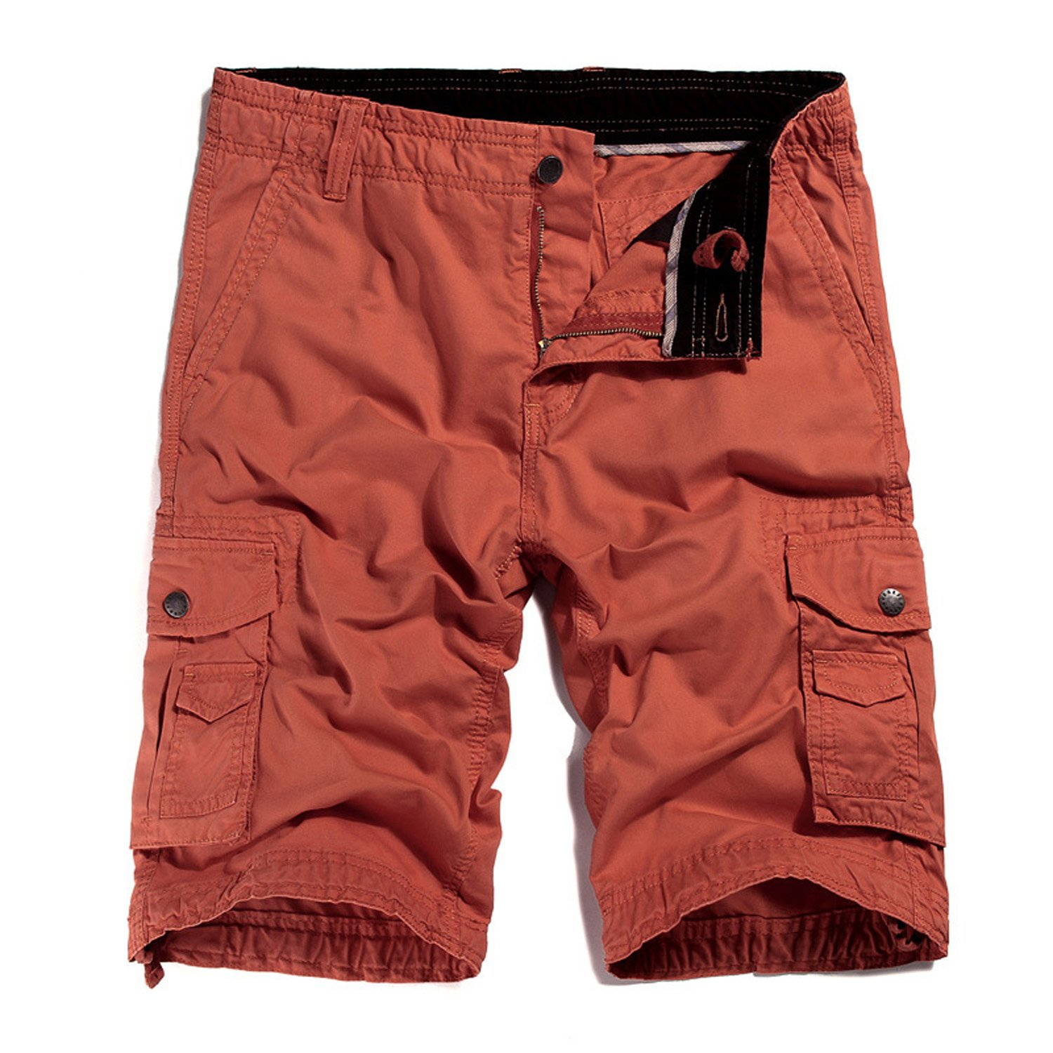 mtiyy Men's Casual Cargo Shorts Loose Fit Straight Multi-Pocket Cotton Outdoor Wear Brick Red 36