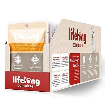 Marca Amazon - Lifelong Alimento completo para perros adultos - Selección de carne en salsa,