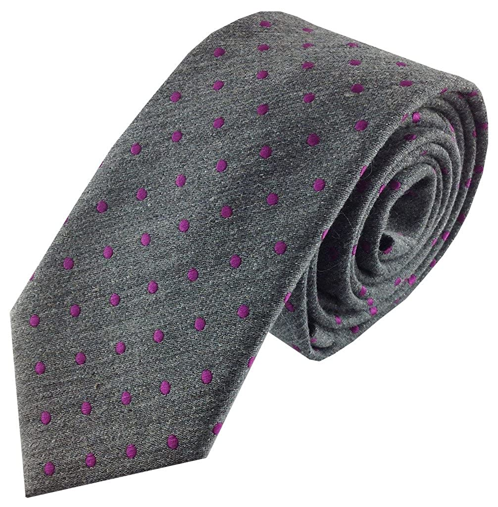 Boys Self Tie Necktie Textured Grey with Purple Fuchsia Polka Dots