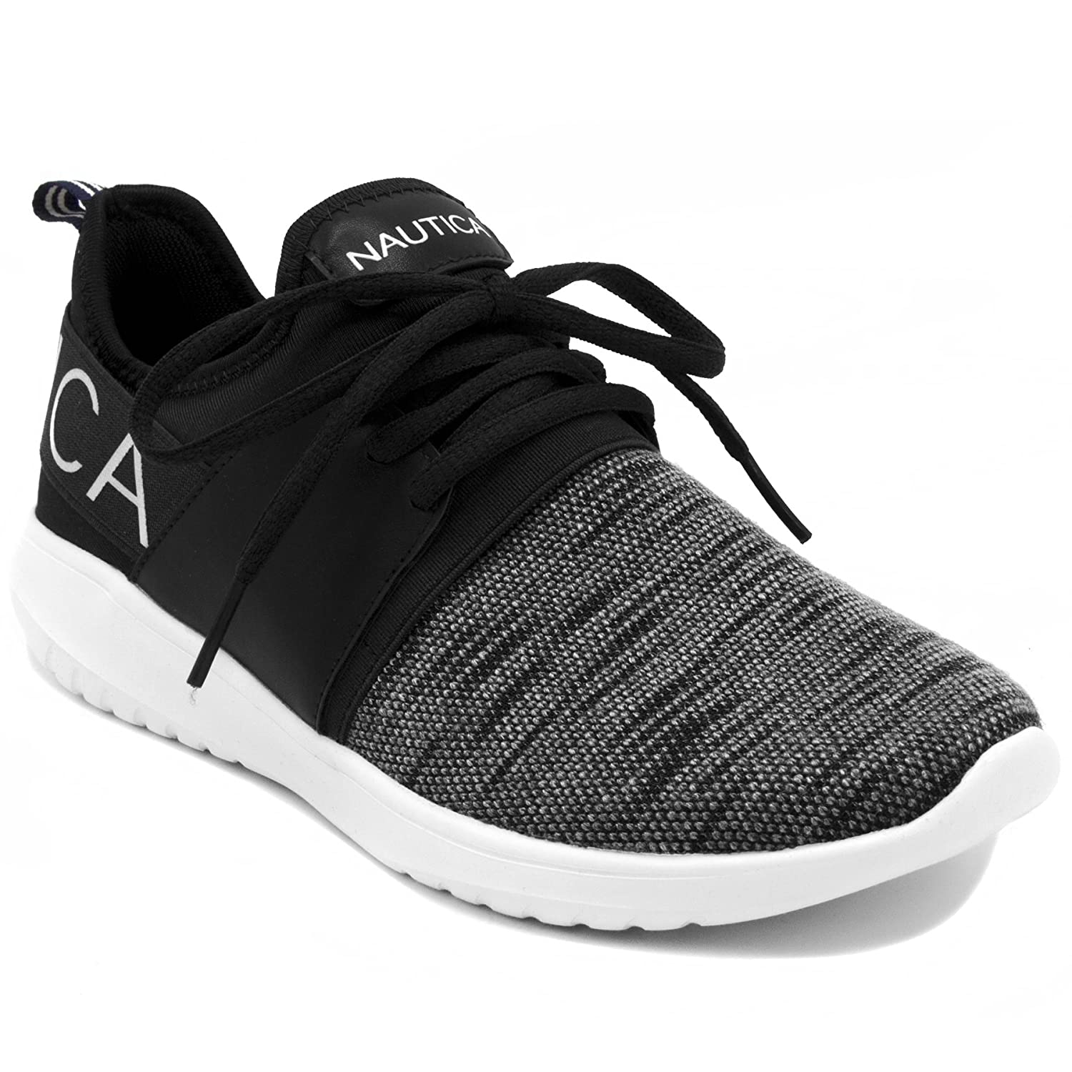 Nautica Women Fashion Jogger Sneaker (Lace-up/Slip-On) B07D4N2431 9.5 M US|Black Knit Lace-up