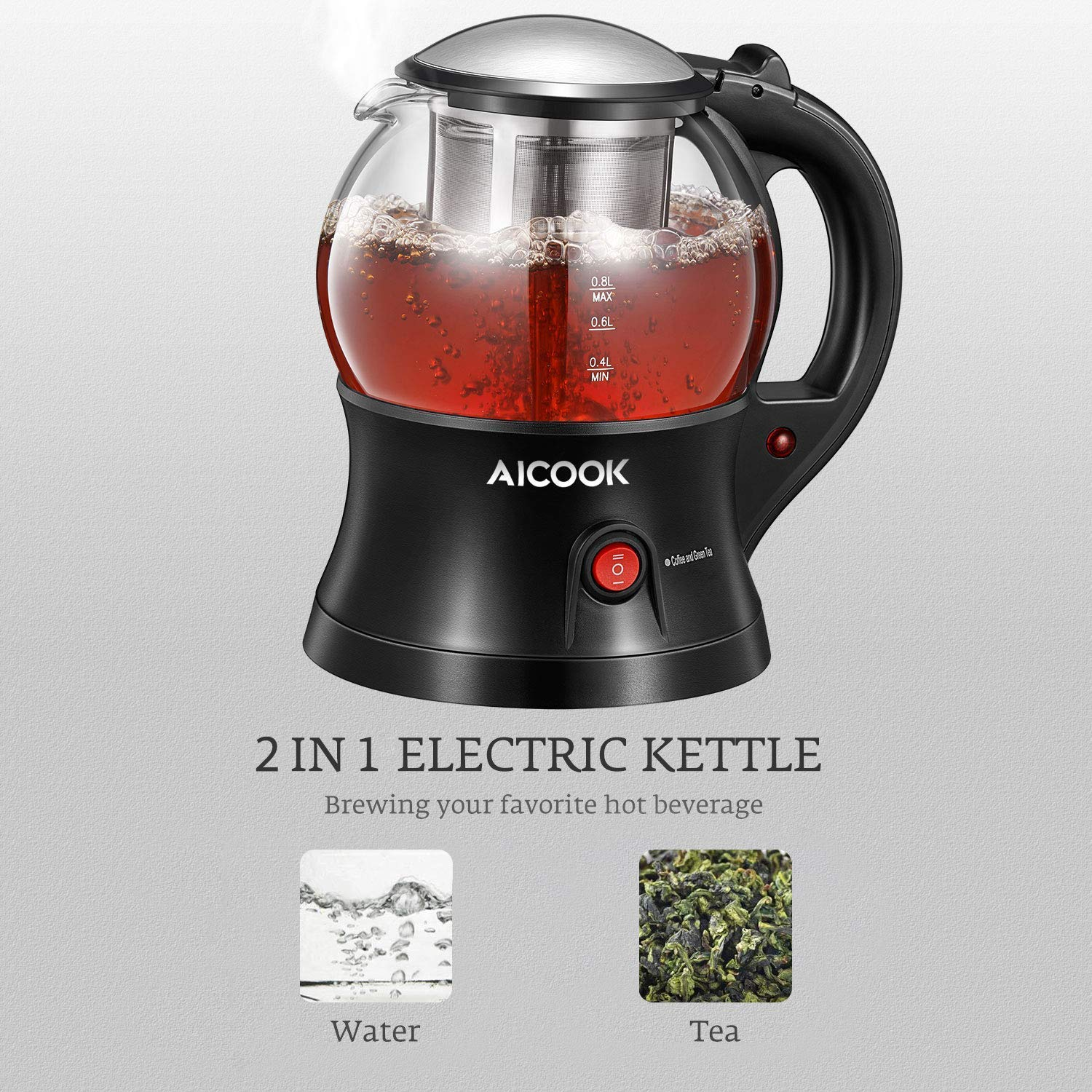 Electric Teapot, AICOOK Cordless Tea Pot Kettle with Removable Tea Infuser Set, Tea Maker For Blooming, Loose Leaf & Tea Bag and Flowering Tea, Keep Warm, Auto Shut-Off and Boil-Dry Protection, BPA Free by AICOOK (Image #2)