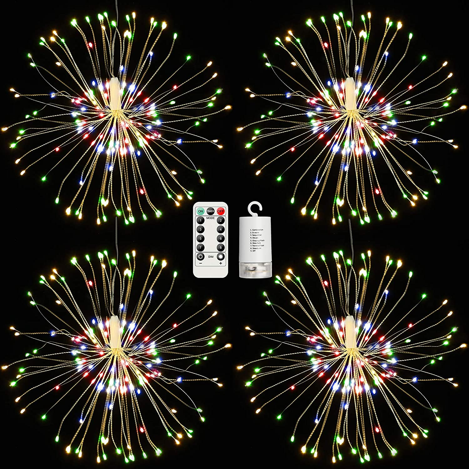 4 Pack Firework Lights, 120 LED Outdoor Home Decor Battery Powered 8 Modes Dimmable Multicolor Copper Wire Starburst String Lights with Remote Control for Garden Patio Yard Pathway Lawn Party
