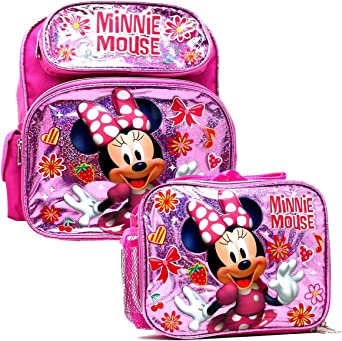 Disney Minnie Mouse Girls School Backpack Lunch Box Book Bag SET Bow Pink Kids