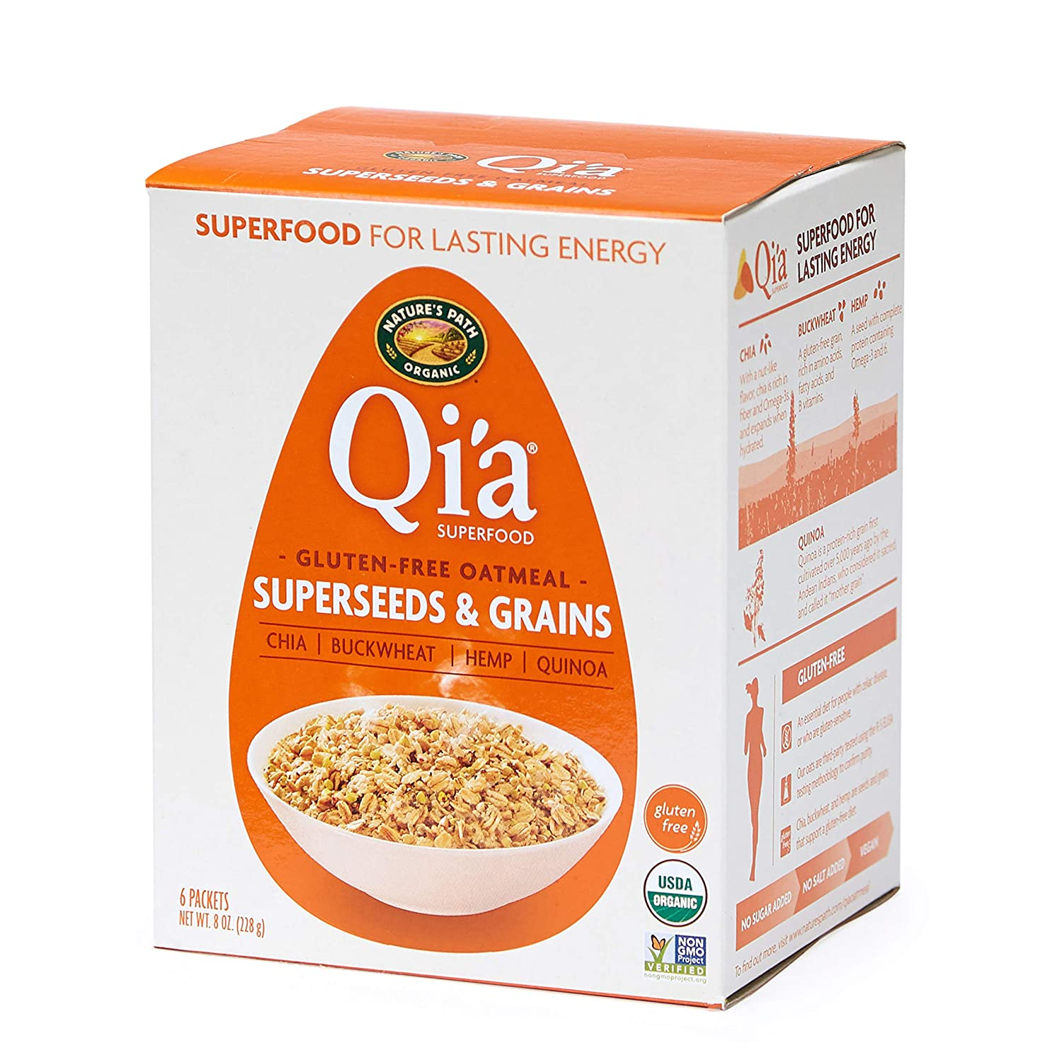 Nature's Path Qi'a Superfood Super-Seed and Grains Instant Oatmeal, Healthy, Organic & Gluten Free, 6 Pouches per Box, 8 Ounces (Pack of 6)