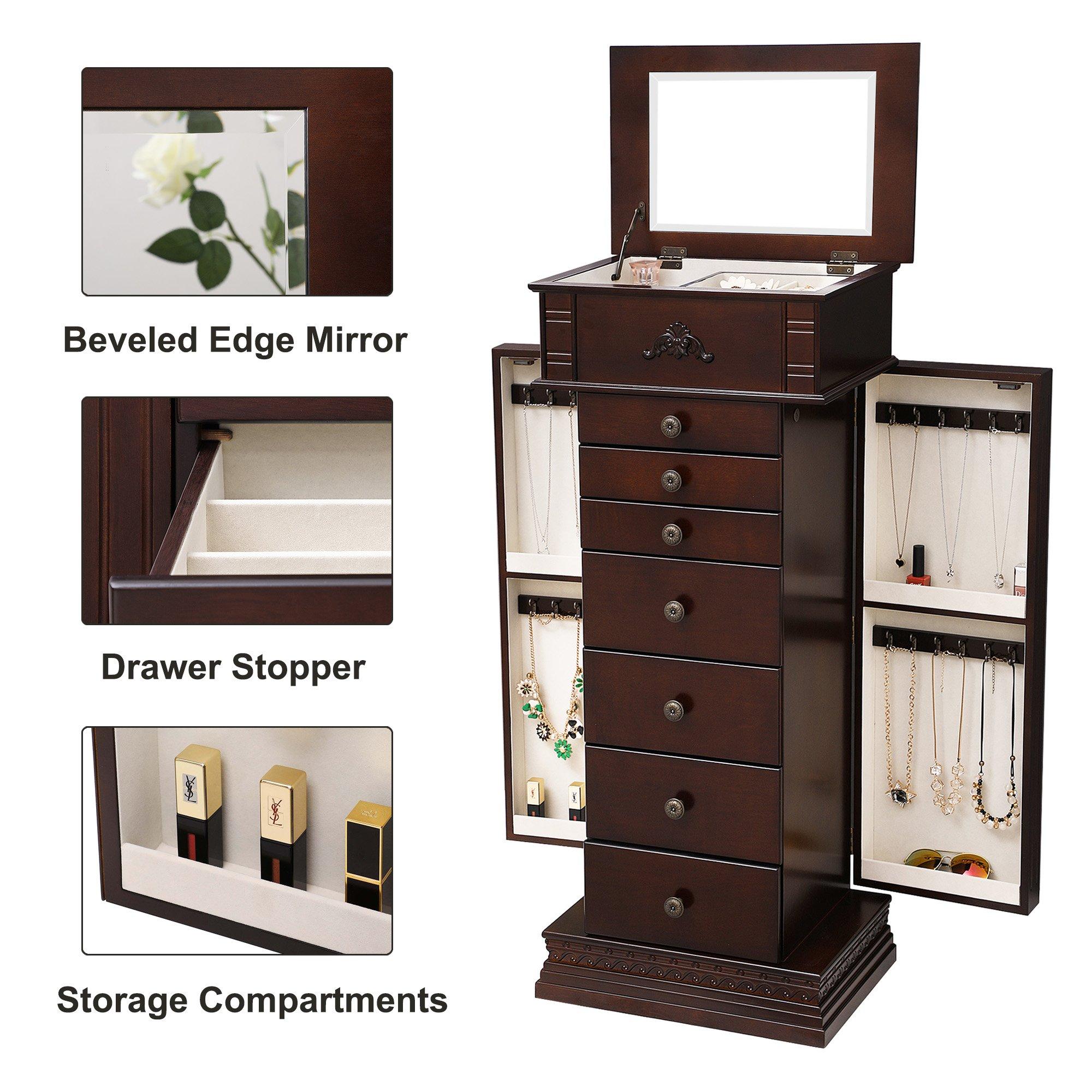 SONGMICS Large Jewelry Armoire Cabinet Standing Storage Chest Neckalce Organizer Dark Walnut UJJC14K by SONGMICS (Image #5)