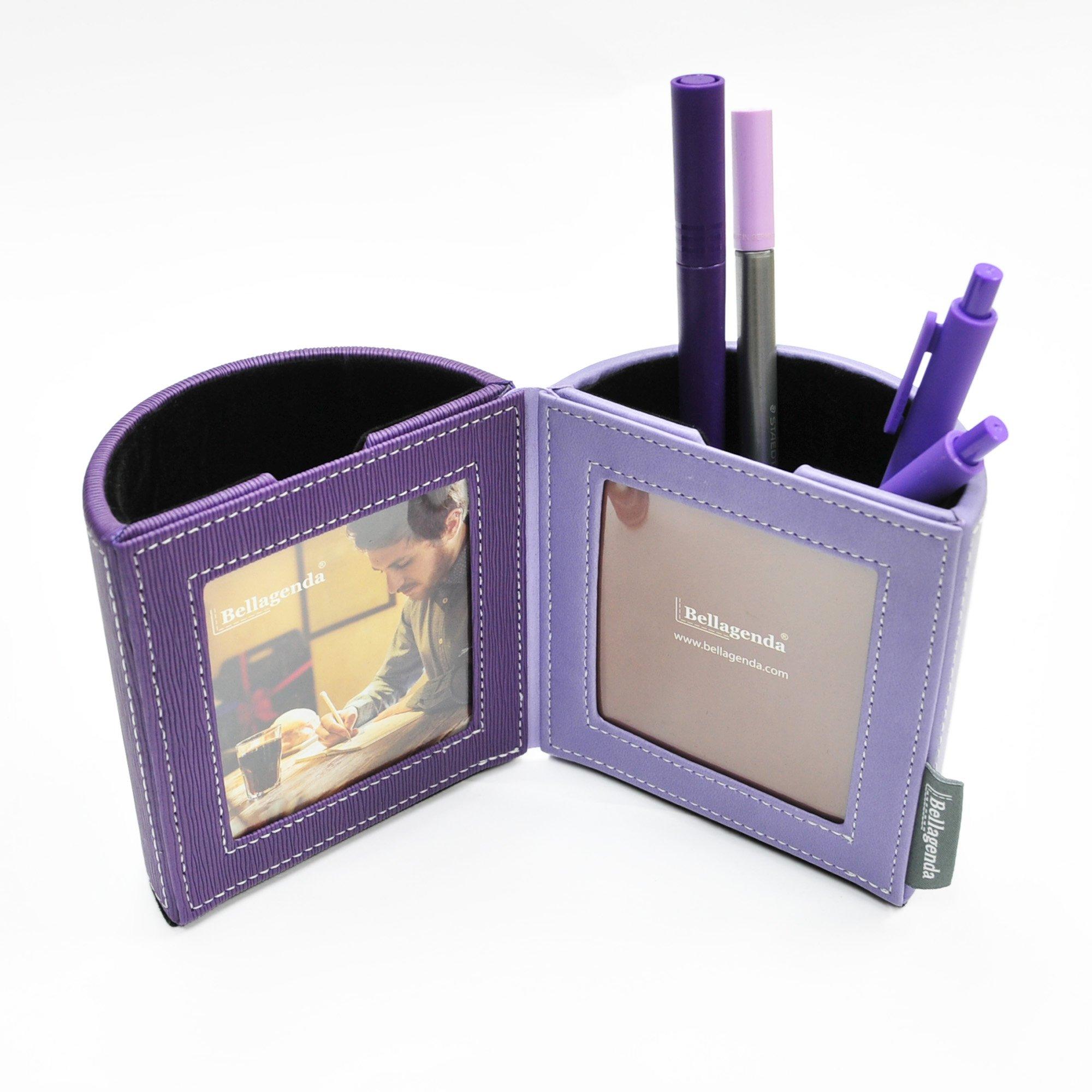 Pen Pencil Holder with Photo Frames | Desk Organizer | Desk Decoration | Multi Function Desk Stationery | Space Saver | 2 Picture Frames | Handicraft | PU Leather & Suede (Purple)