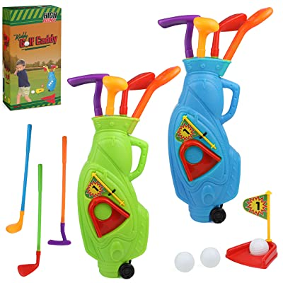 High Bounce Junior 2 in 1 Complete Golf Club Set for Kids; with 2 Golf Cart and 3 Golf Clubs, 1 Practice Hole and 3 Balls for Each cart: Toys & Games