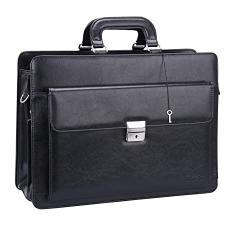 c8e7f57c2cf2 Ronts Black PU Leather Briefcase for Men Lawyer Attache Case with Lock 15.6  Inch Laptop Business Bag Tote Shoulder Messenger Bag