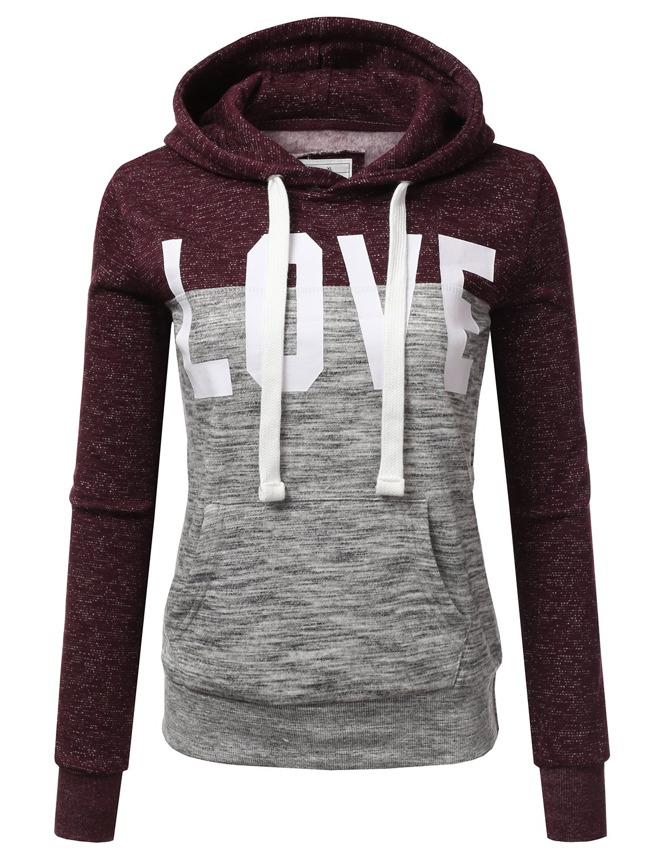 Doublju Basic Lightweight Pullover Hoodie Sweatshirt for Women MELANGEPLUM X-Large
