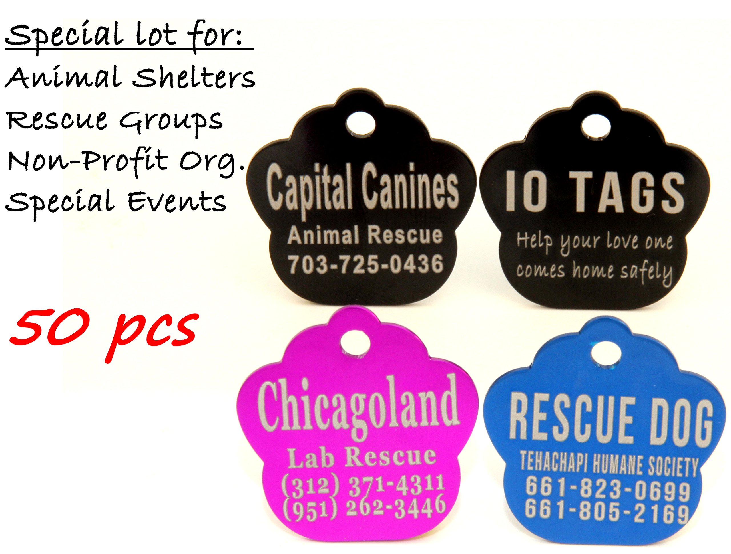 Laser Etched Bulk Lot Pet ID Tag for Dog & Cat Shelters, Rescues, Non Profits Org. and Special Events (Lot of 50) by io tags