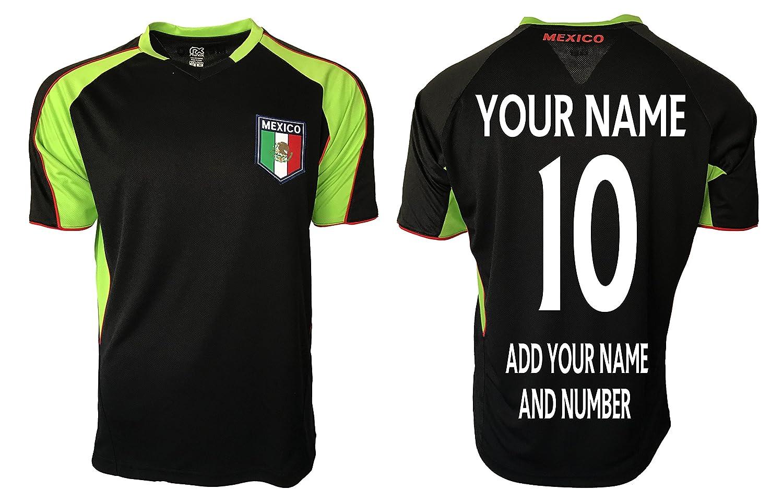 メキシコサッカージャージーフラグ米国大人用トレーニングカスタム名と番号 B01N7S4O7R M|ブラック ブラック M