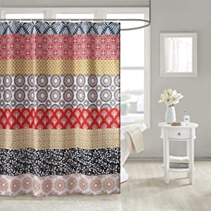 Uphome Bohemian Shower Curtain Colorful Vintage Floral Striped Fabric Shower Curtain Set with Hooks Chic Boho Bathroom Decor,Heavy Duty Waterproof, 72x72