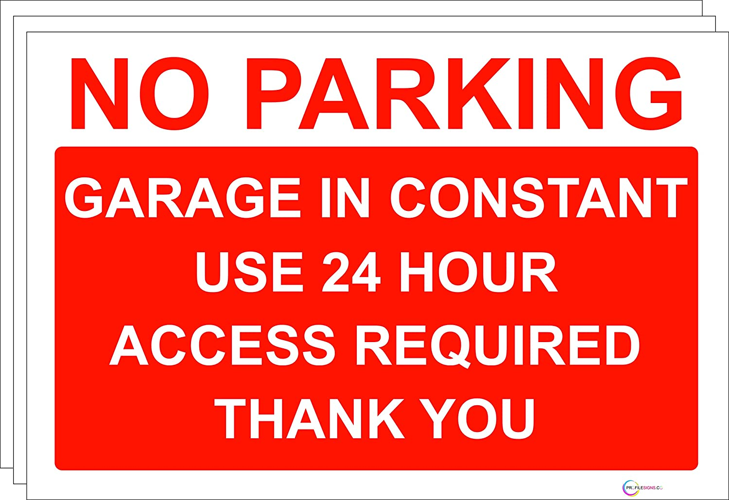 No parking Sign/Signs - Large Choice Rigid PVC Or Self Adhesive Sticker - Quality Screen Print (1, Rigid PVC NO PARKING 24 Hour Access Required) PROFILESIGNS.CO