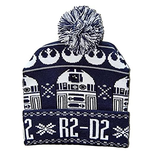 c17de0fb38f Image Unavailable. Image not available for. Color  Star Wars R2D2 Cuff Pom  Beanie Winter Hat