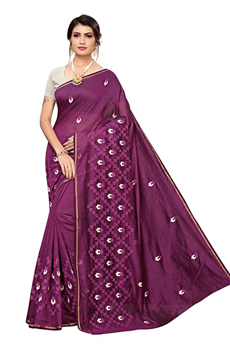 Anni Designer Women's Chanderi Embroided Style Saree With Blouse Piece