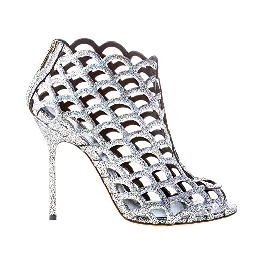 Sergio Rossi Women Shoes Mermaid Silver Glittered Leather Ankle Boot ... 2858cedd0f7