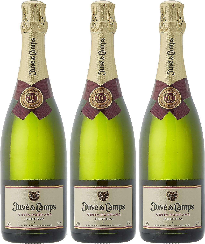 Juvé & Camps | Cava Reserva Semi-seco Cinta Púpura | Pack de 3 botellas de 75 cl | Pack Regalo Cava | Macabeo, Xarel·lo, Parellada