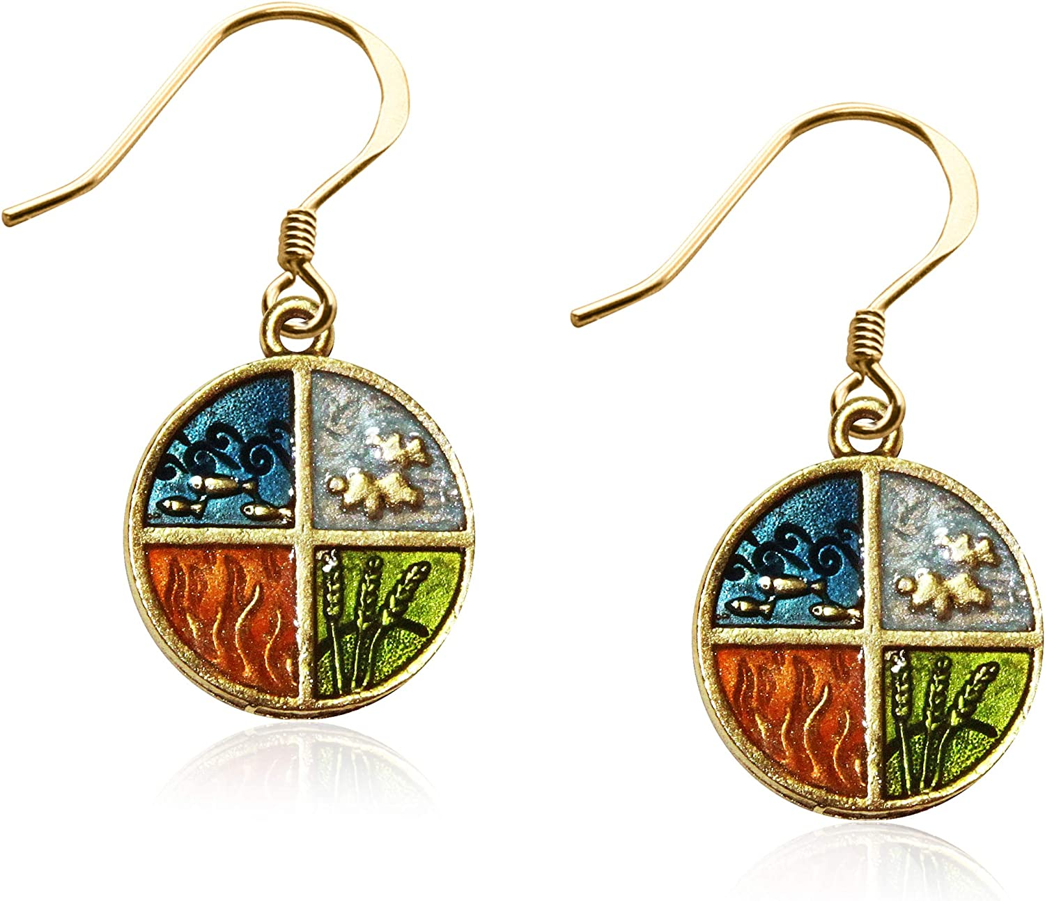 Whimsical Gifts Astrology Charm Earrings 4 Elements, Gold